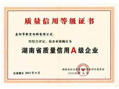 湖南省质量信用A级企业